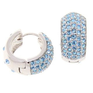 Medium Blue Reversible Huggies Crystal Earrings