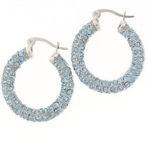 Medium Blue Swarovski Crystal Hoop Earrings