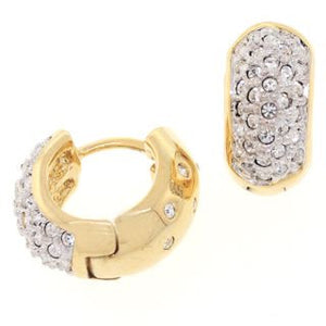 Medium Gold Reversible Huggies Crystal Earrings