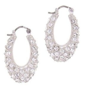 Medium Oval Swarovski Crystal Hoop Earrings