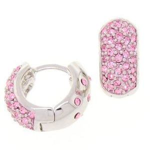 Medium Pink Reversible Huggies Crystal Earrings