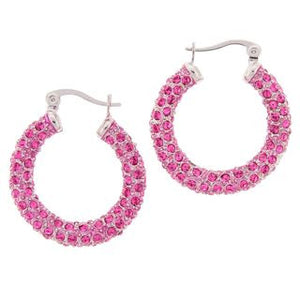 Medium Pink Silver Swarovski Crystal Hoop Earrings