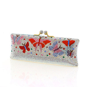 Multi-Color Butterfly Swarovski Crystal Evening Clutch