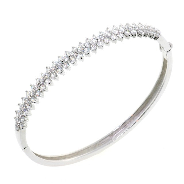 Chandi Diamond Petal CZ Crystal Bangle Bracelet by Bobby Schandra