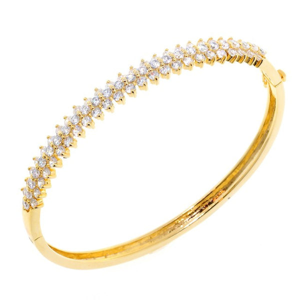 Chandi Diamond Petal Gold CZ Crystal Bangle Bracelet by Bobby Schandra