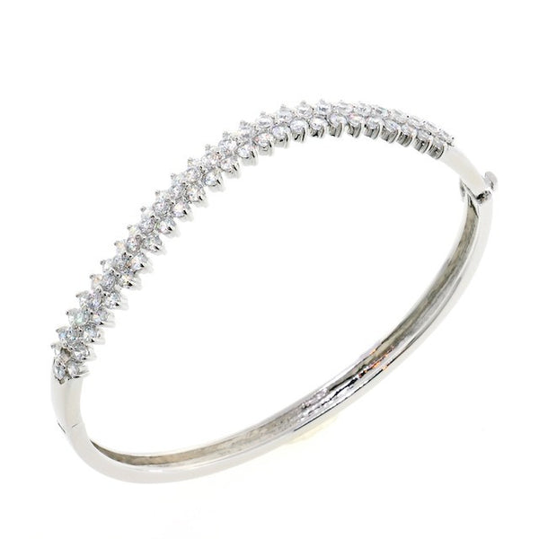 Chandi Diamond Petal Twist CZ Crystal Bangle Bracelet by Bobby Schandra