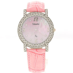Pink leather round Swarovski Crystal watch