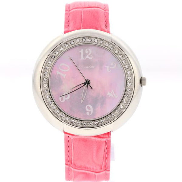 pink swarovski crystal leather watch