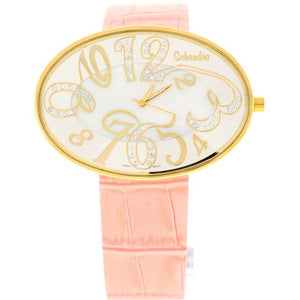 Pink gold oval swarovski crystal leather watch