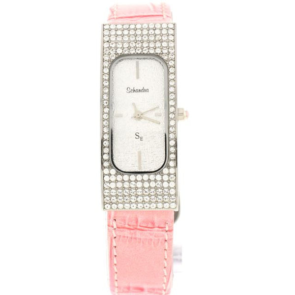 Pink/Silver Rectangle Swarovski Crystal Leather Watch