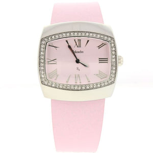 Pink Swarovski Crystal Tank watch