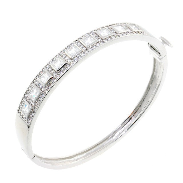 Chandi Diamond Princess Cut Crystal Bangle Bracelet by Bobby Schandra