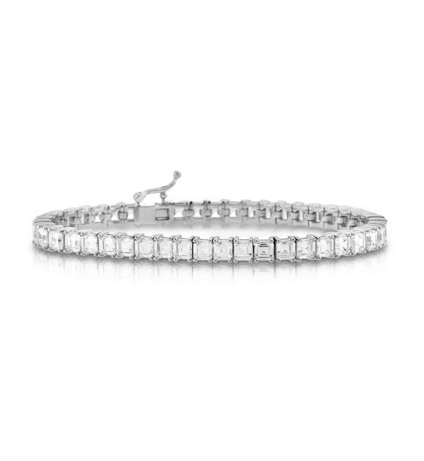 Princess-cut Silver CZ Tennis Bracelet