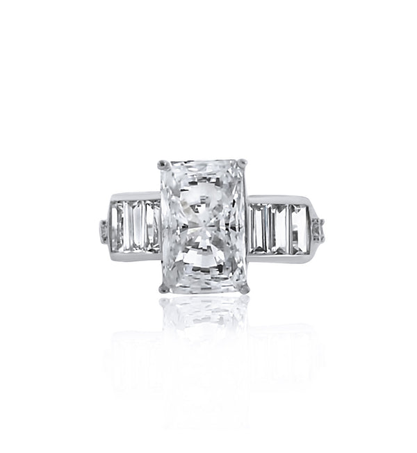 rectangle-baguette-cut side-stones-cz-silver-ring