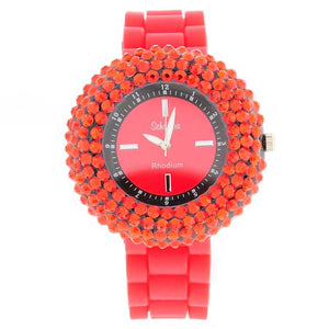 Red Crystal Encrusted Jelly Watch