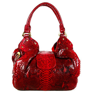 Red Hobo Python Bag