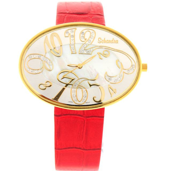 Red gold oval swarovski crystal watch