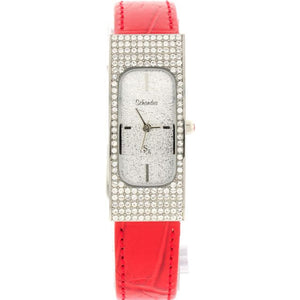Red Leather Rectangle Swarovski Crystal Watch