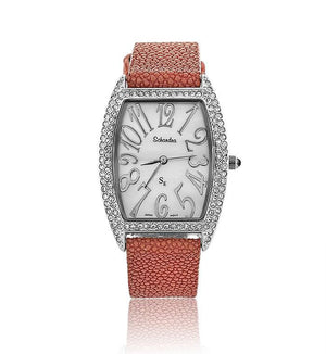 Red Sting Ray Swarovski Crystal Pearl Face Watch