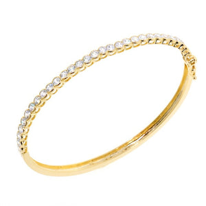 Chandi Diamond Round Cut Gold CZ Crystal Bangle Bracelet by Bobby Schandra