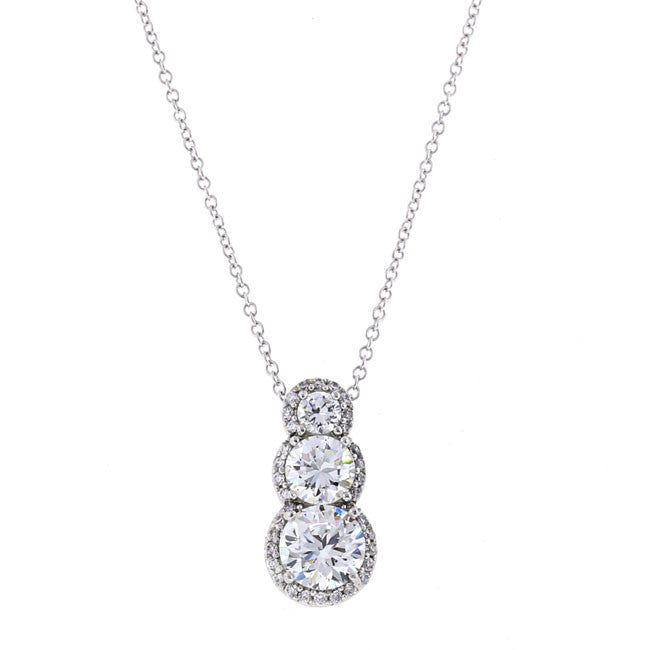 Round Silver CZ Pendant Necklace Travel Jewelry