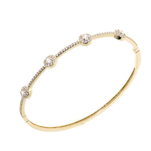 Chandi Diamond Round Treasure Style Gold CZ Crystal Bangle Bracelet by Bobby Schandra