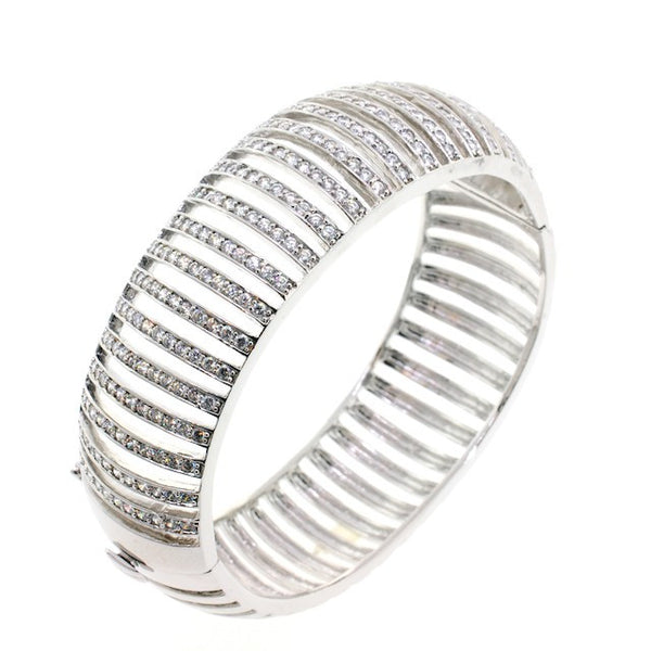 Chandi Diamond See Me Silver CZ Crystal Bangle Bracelet by Bobby Schandra