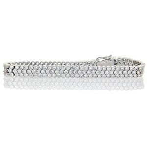 Chandi Diamond Silver 3 Row Round CZ Tennis Bracelet by Bobby Schandra