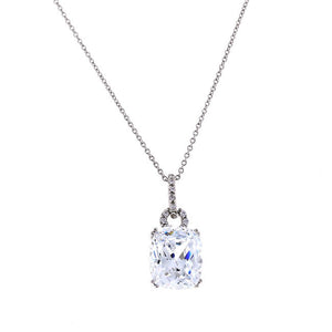 Silver 8 Carat Cushion Cut CZ Pendant Necklace Travel Jewelry