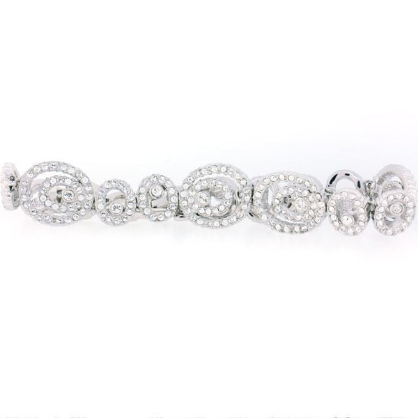Chandi Diamond Silver and CZ Large and Small Spiral Bracelet by Bobby Schandra