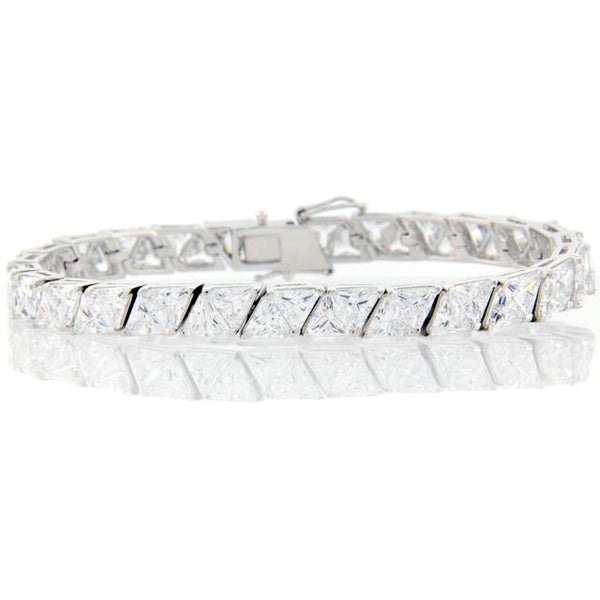 Chandi Diamond Silver and CZ Triangular Tennis Bracelet by Bobby Schandra