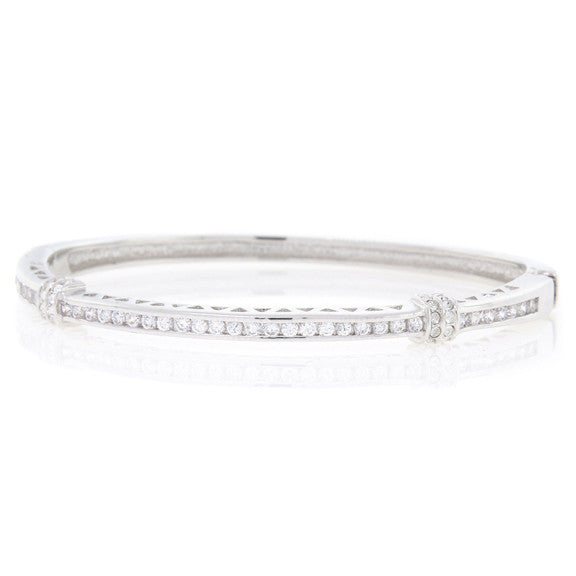 Silver and Round CZ Bangle