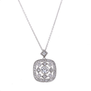 Silver Antique Victorian CZ Pendant Necklace Travel Jewelry