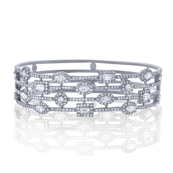 Silver Chandi Diamond Cuff by Bobby Schandra