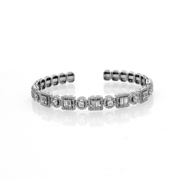 Silver Cuff with Chandi Diamonds by Bobby Schandra
