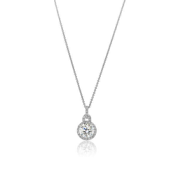 silver cz diamond pendant large halo necklace