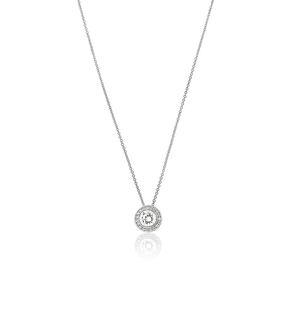 Silver CZ Round Pave Halo Necklace