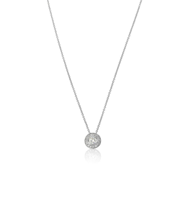 silver cz bezel set pendant necklace