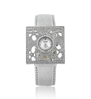 Silver Leather Swarovski Crystal Flower Designer Watch