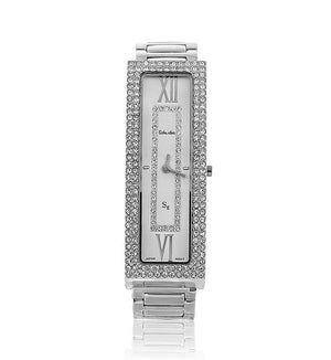 Silver Long Rectangle Swarovski Crystal Pearl Face Designer Watch