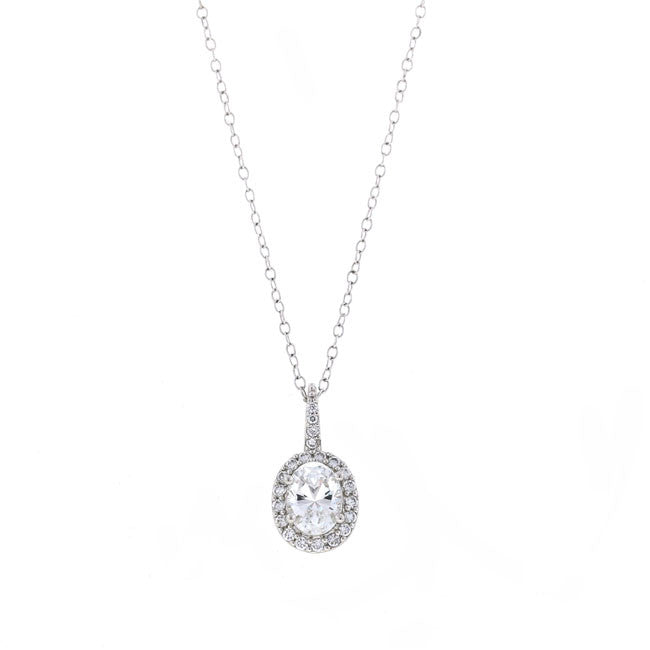Silver Oval CZ Pendant Necklace Travel Jewelry