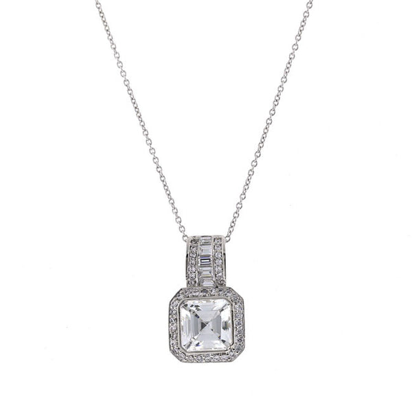 Silver Princess Cut CZ Pendant Necklace Travel Jewelry