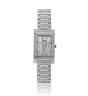 Silver Rectangle Swarovski Crystal Designer Watch with Crystal Face
