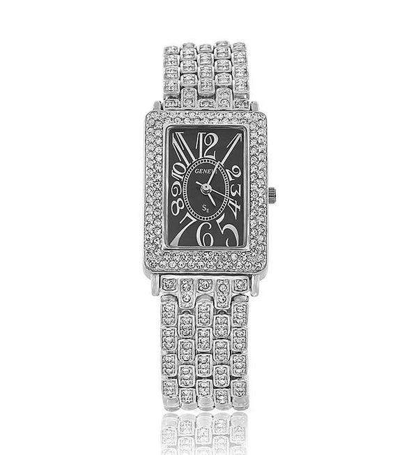 Silver Rectangle Swarovski Crystal Designer Watch