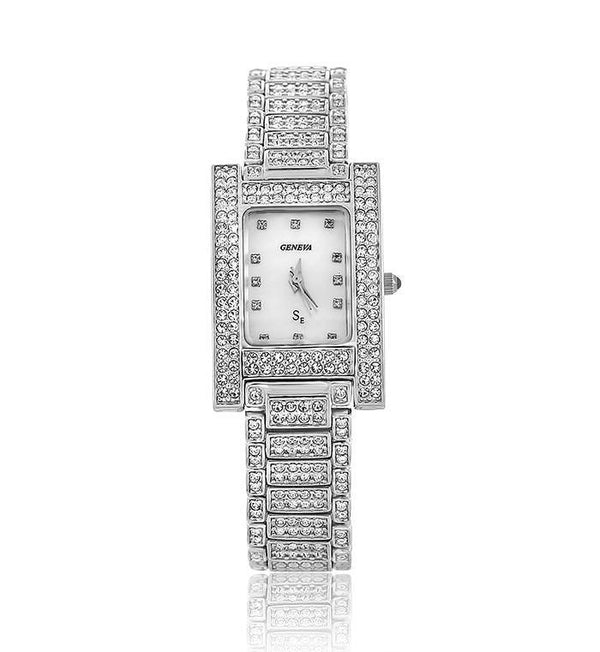 Silver Rectangle Swarovski Crystal Pearl Face Designer Watch
