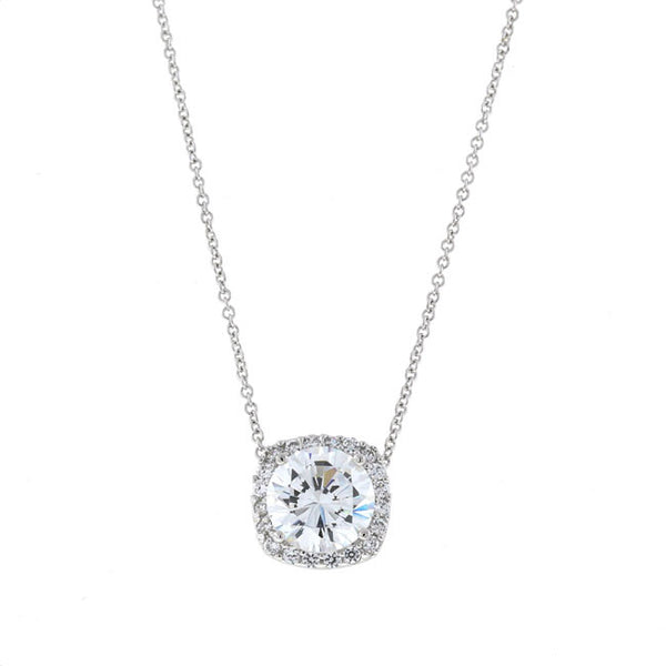 Silver Round CZ Pendant Necklace Cushion Bezel Travel Jewelry
