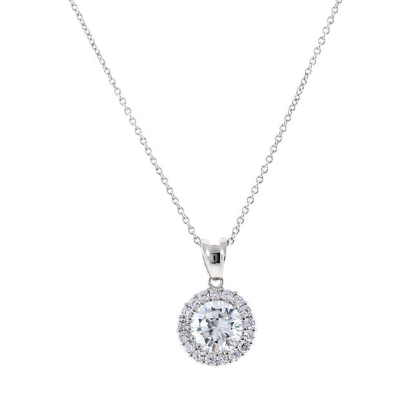 Silver Round CZ Pendant Necklace Travel Jewelry