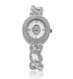 Silver Round Linked Swarovski Crystal Pearl Face Designer Watch