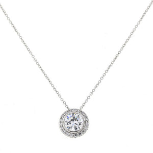 Silver Round Pave CZ Pendant Necklace Travel Jewelry