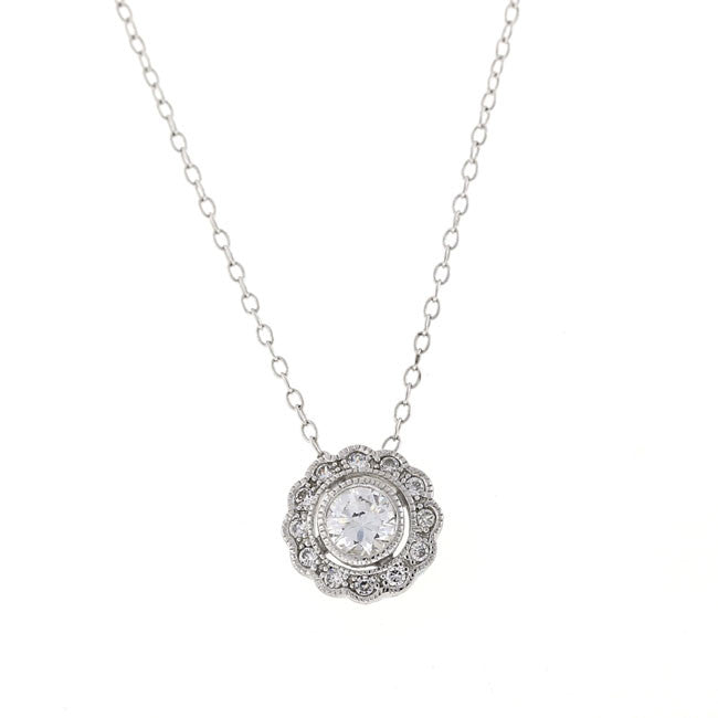 Silver Round Vintage CZ Pendant Necklace Travel Jewelry